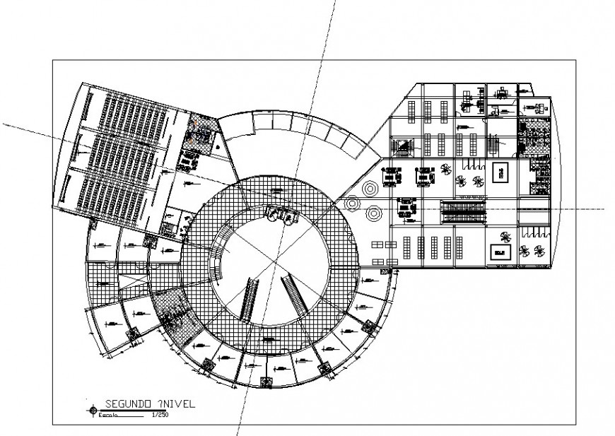 Shopping Centre second floor plan in auto cad