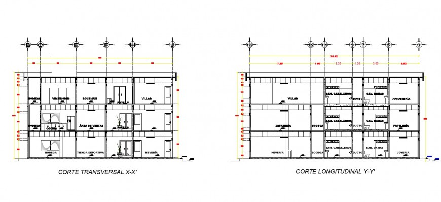 Shopping complex building section 2d view CAD structural block layout dwg file
