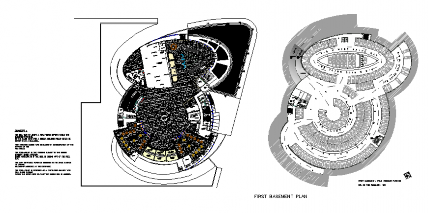 Shopping mall building basement and first floor layout plan details dwg file