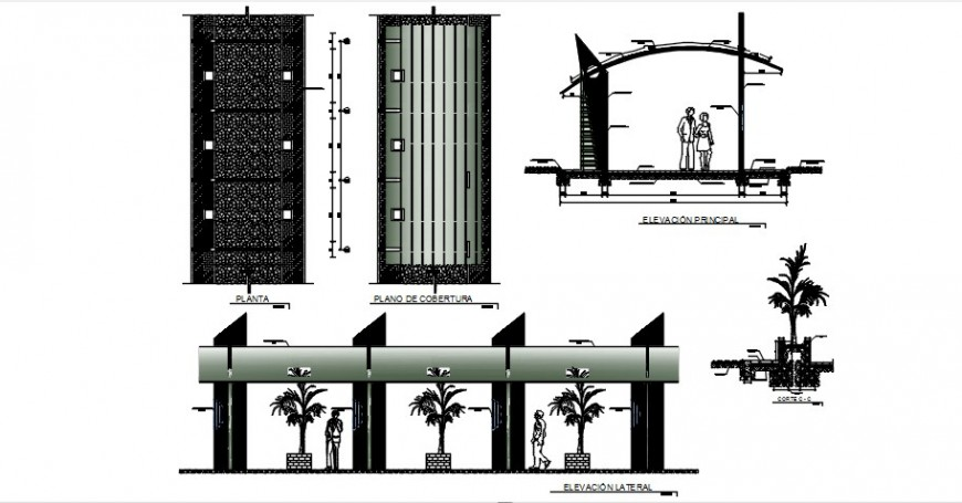 Shopping mall building elevation, section and structure details dwg file