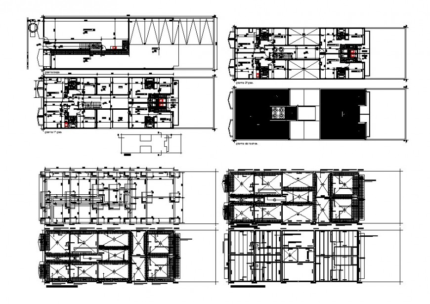 Shopping mall building floor plan and structure cad drawing details dwg file