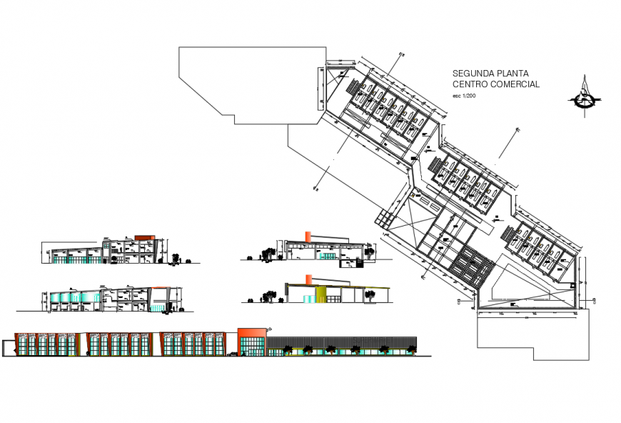 Shopping mall complex all sided elevation, section and plan cad drawing details dwg file