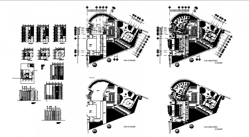 Shopping mall complex building detail 2d view layout plan in dwg format