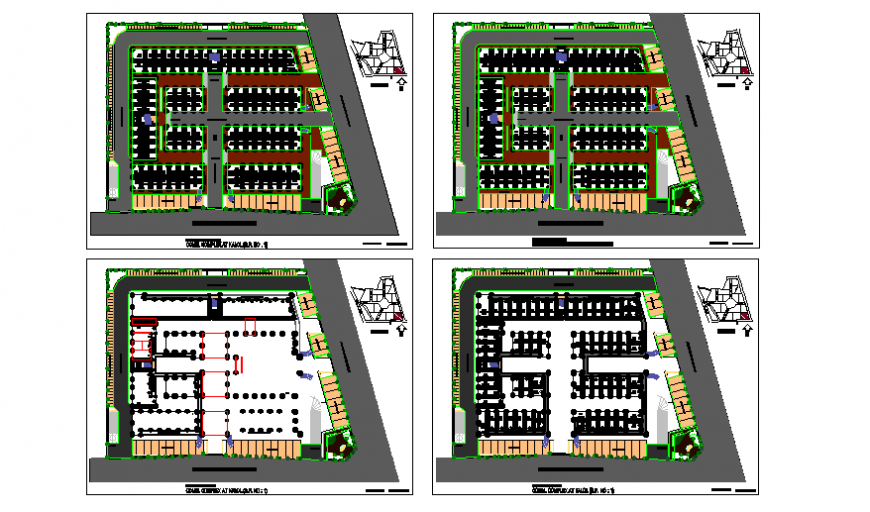 Shopping mall complex floor plan layout details dwg file