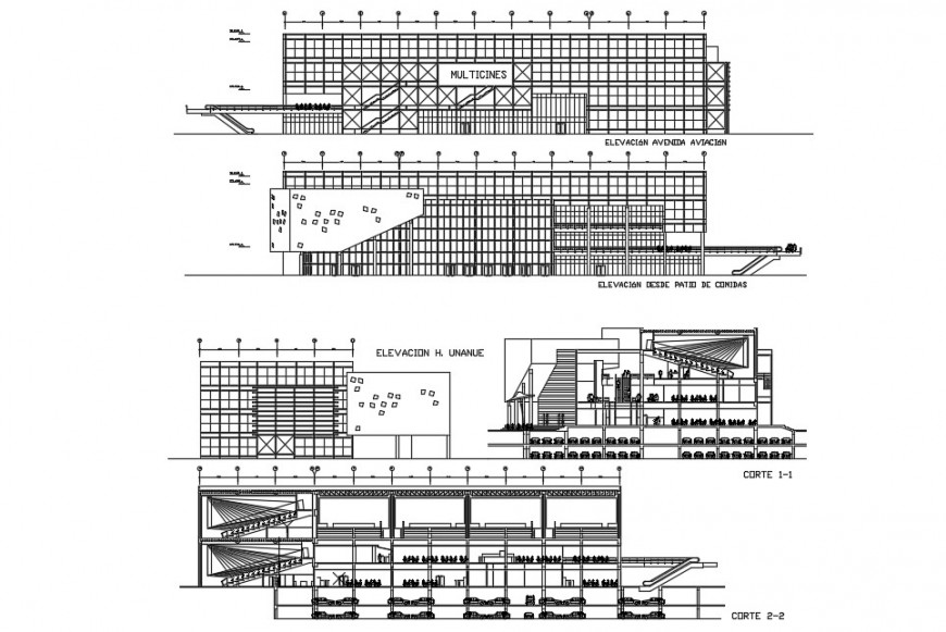 Shopping mall elevation plan and section detail dwg file in Autocad format