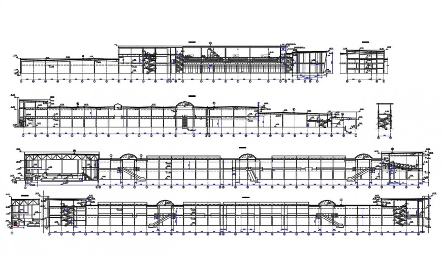 Shopping mall multi-level elevation and section cad drawing details dwg file