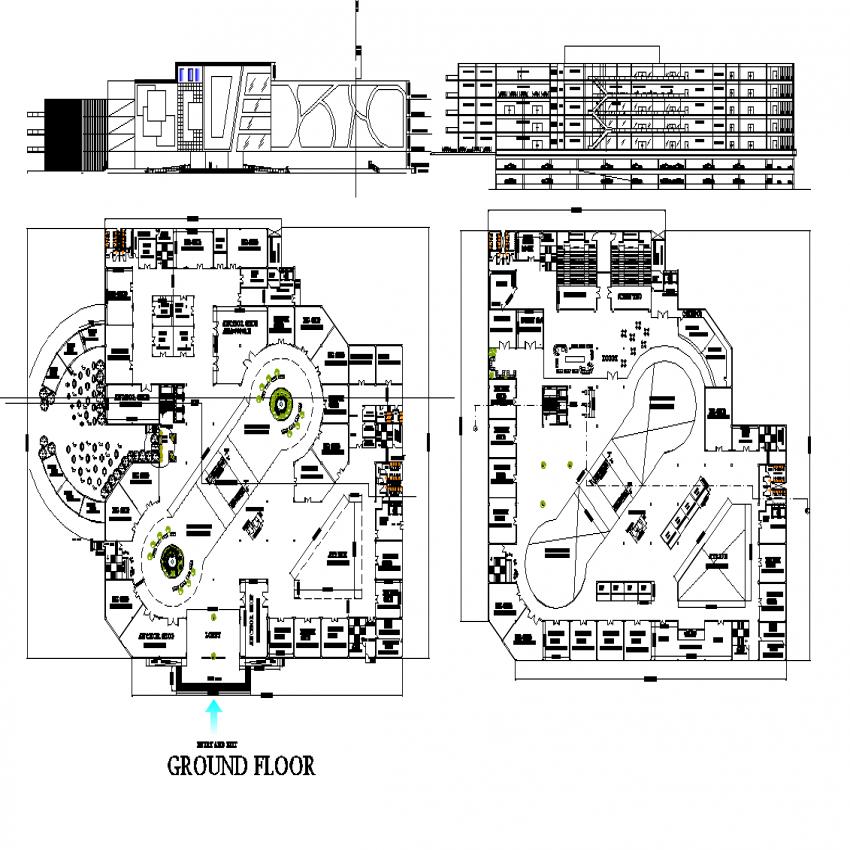 Shopping mall plan detail dwg file.