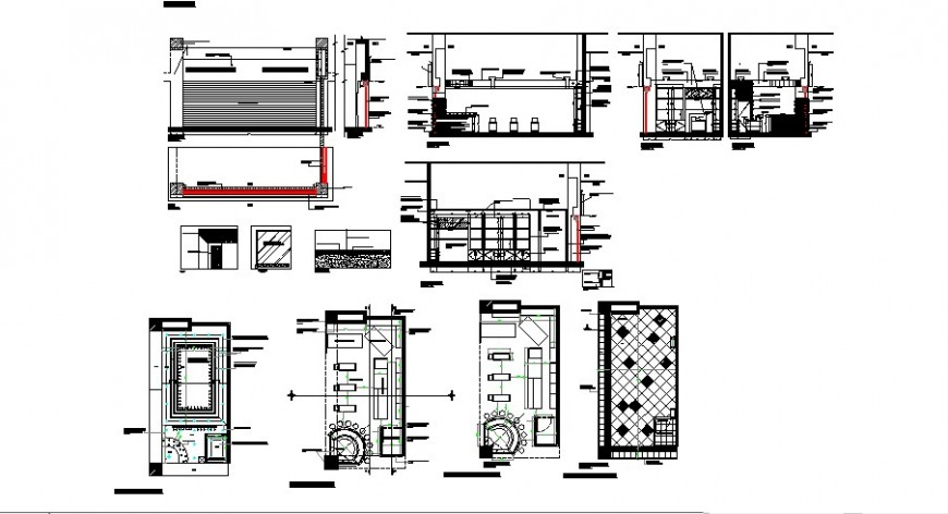 Shopping mall stores section, plan and auto-cad details dwg file