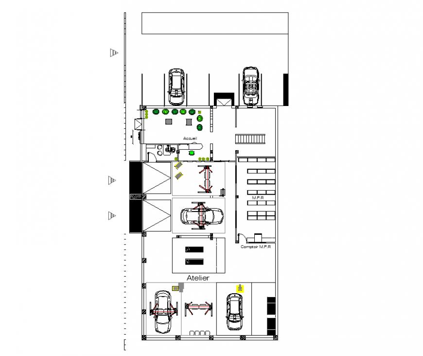 Show room line plan detail elevation autocad file