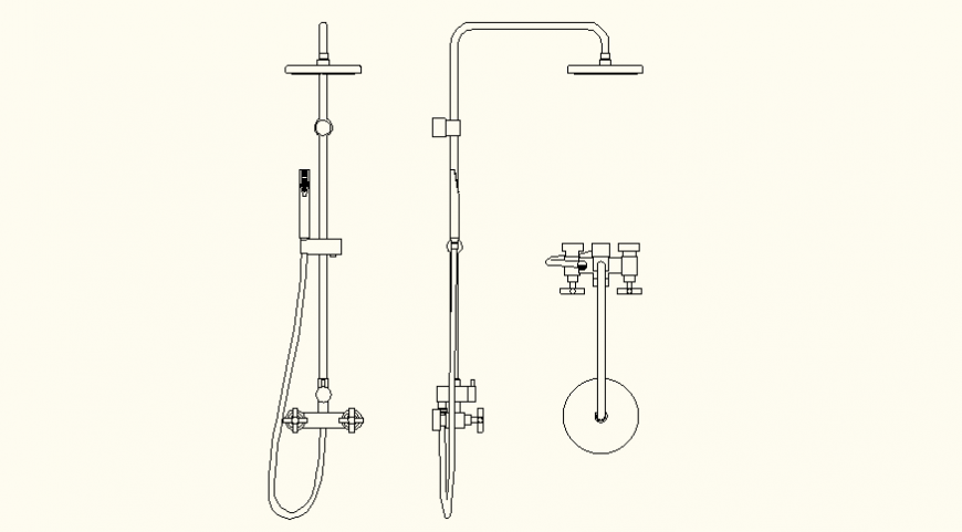 Shower and piping system detail elevation and plan autocad file