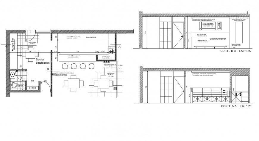 Showroom building detail plan and section 2d view autocad file