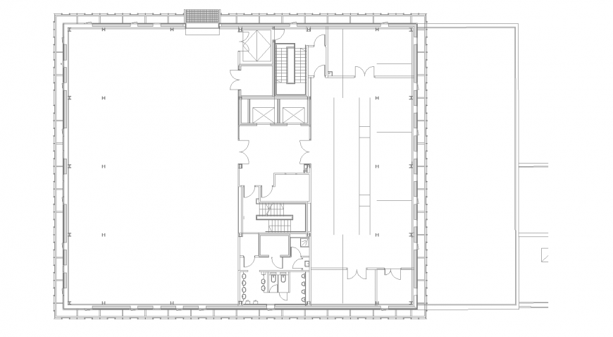 Showroom detail foundation layout plan in dwg AutoCAD file.