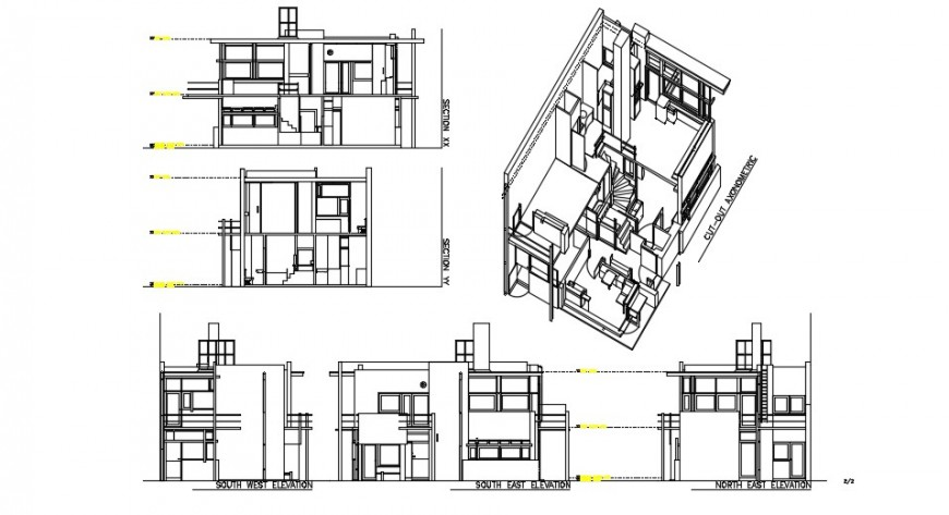 Shroder house cut out axonometric section and all sided elevation drawing details dwg file