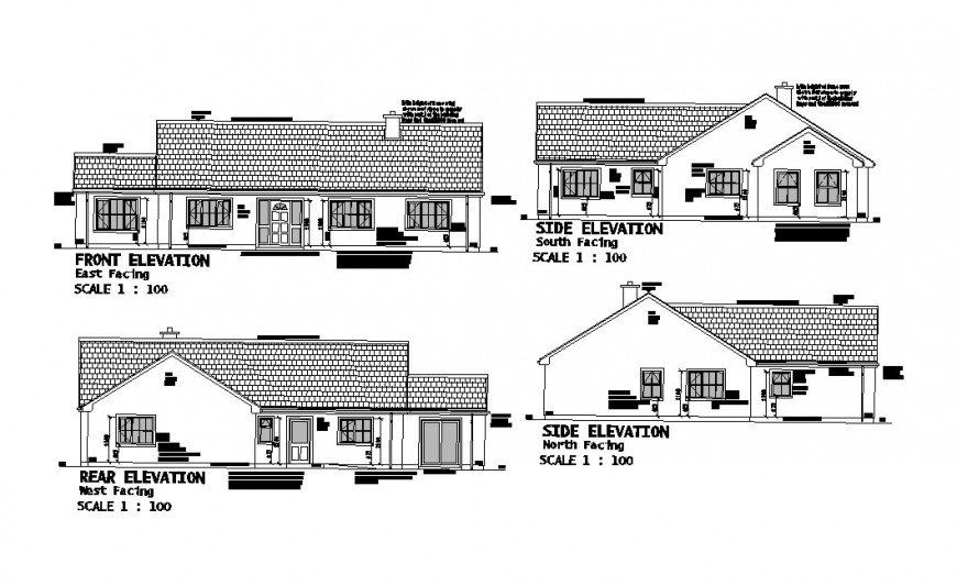 Side, rear and front elevation drawing details of one family house dwg file