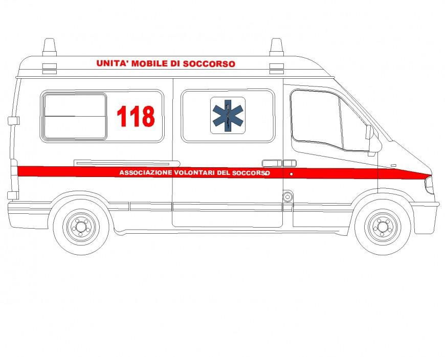 Side Ambulance plan autocad file