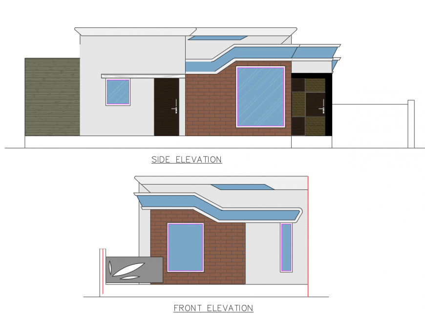 Side and front elevation drawing details of one family house dwg file