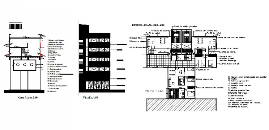 Side elevation, section and plan of apartment building dwg file