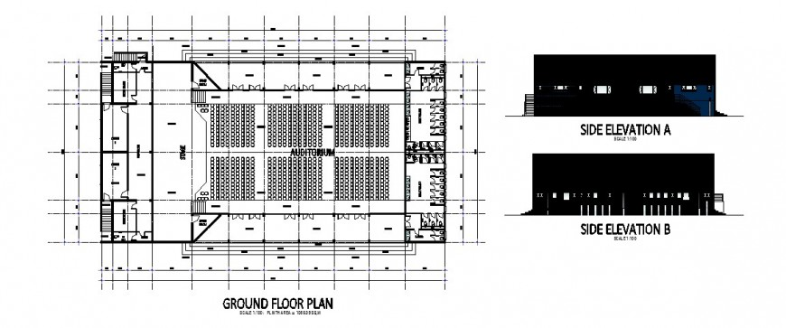Side elevation and ground floor layout plan details of auditorium hall dwg file