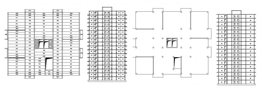 Side elevation and structure drawing details of apartment building dwg file