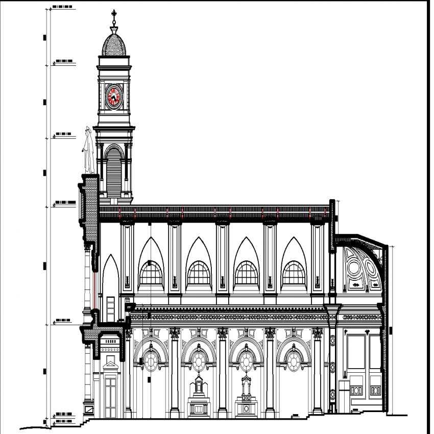 Side elevation cathedral plan layout file