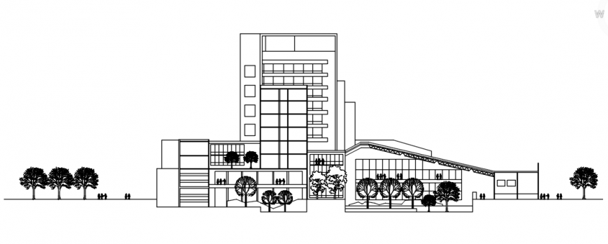 Side elevation of hotel building in auto cad software