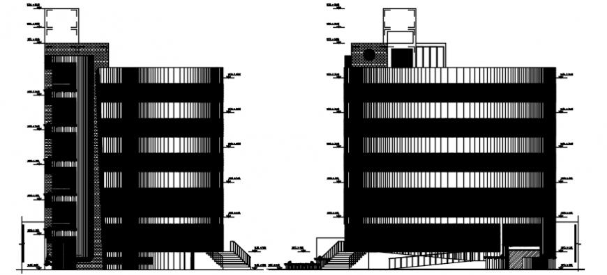 Side elevation of school hostel in autocad file