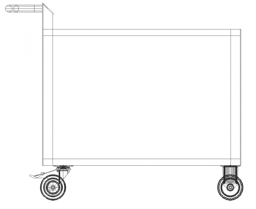 Side elevation of table in dwg file