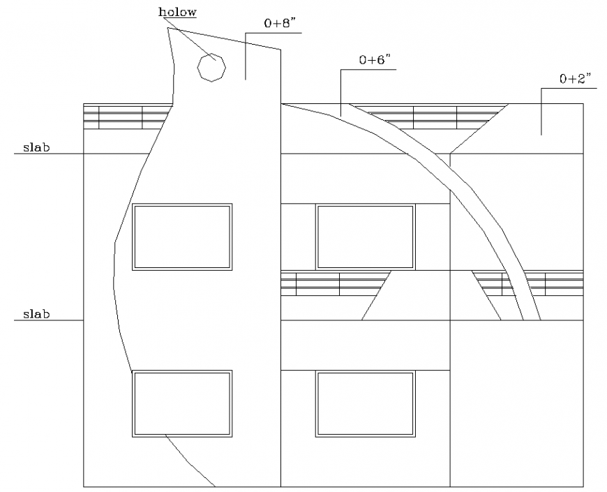 Side elevation of the bungalow drawing in dwg AutoCAD file.