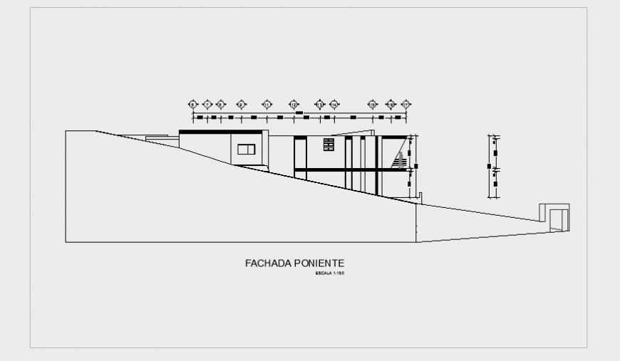 Side Elevation plan design drawing for modern house design