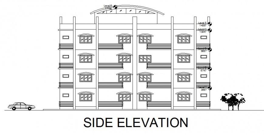 Side elevation school commercial plan