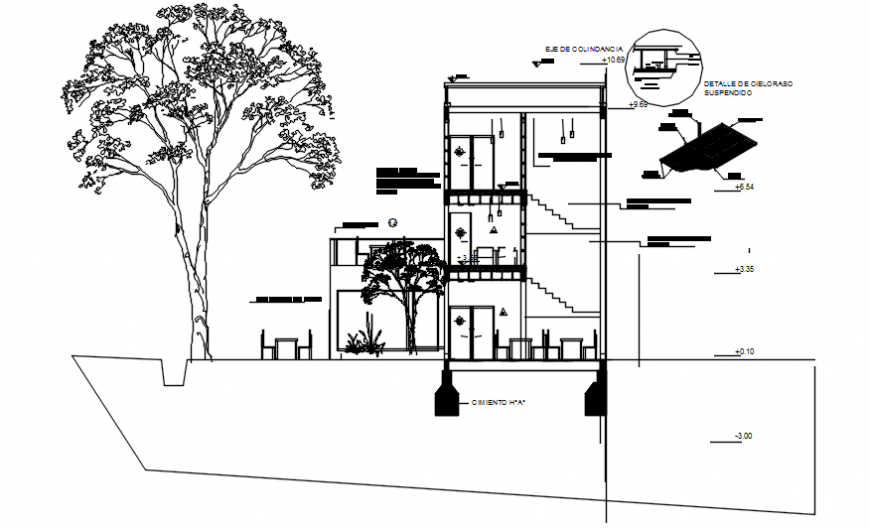 Side elevation with hotel and tree view in AutoCAD file