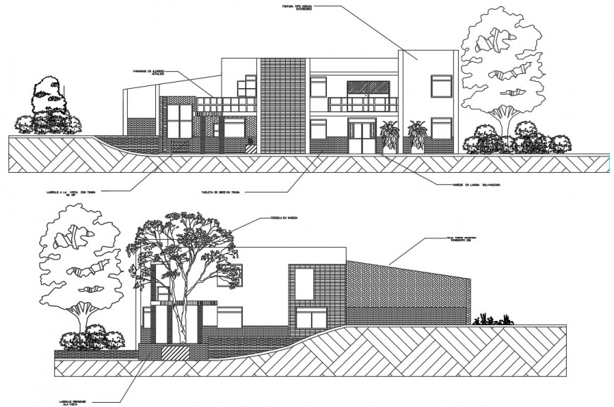 Side exterior view concept of a beach house