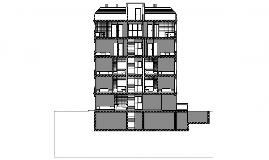 Side section-e details of multi-flooring residential apartment flats cad drawing details dwg fille