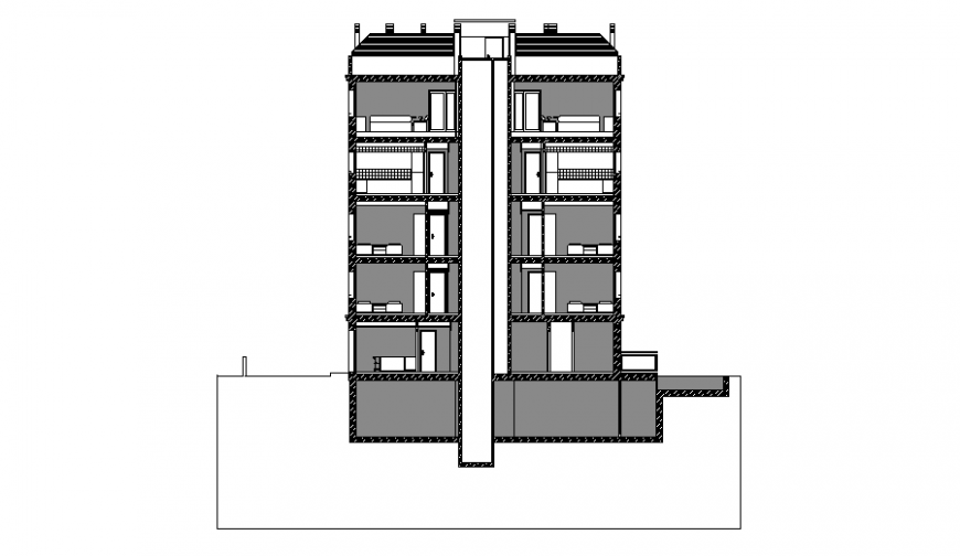 Side sectional details of multi-family residential building dwg file