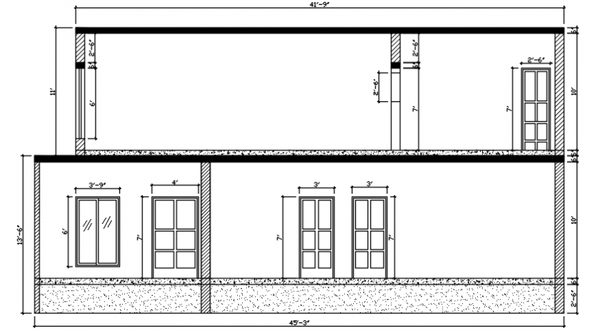 Side view complete view of house dwg file