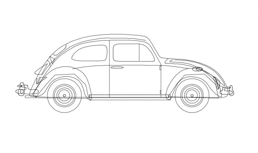 Side view detail of a car  model dwg file