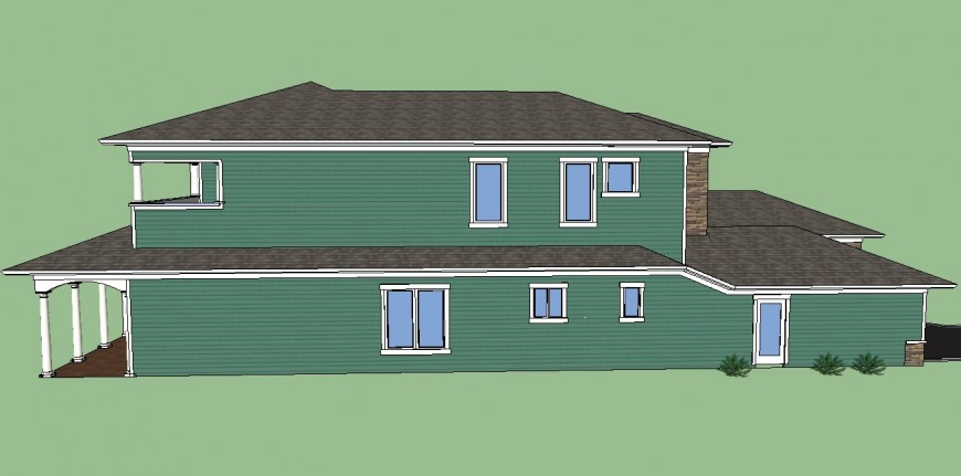 Side view of a building , parking area detail 3d