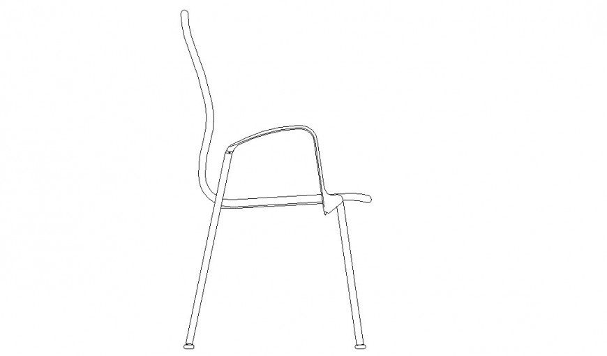 Side view of a simple chair 2d model design