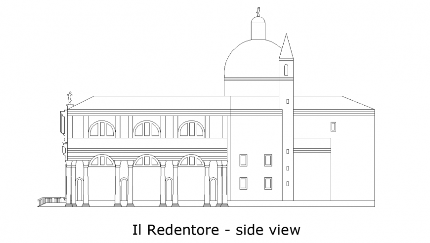 Side view of designer church with architecture view dwg file