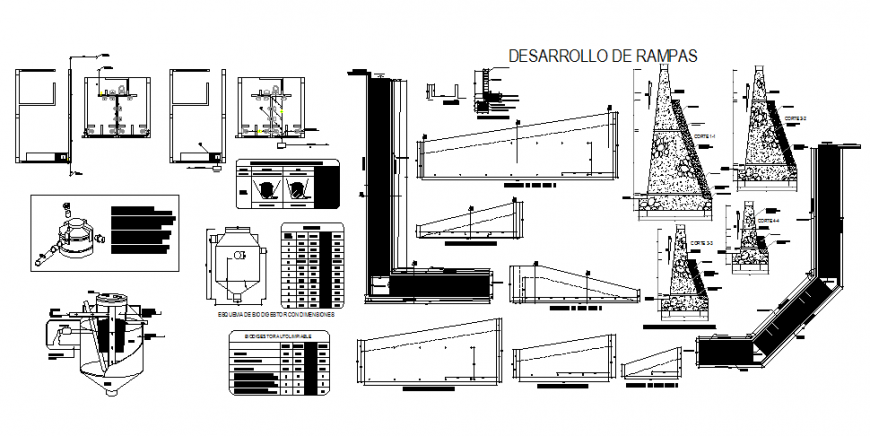 Side walk & ramp construction and sanitary installation and water tank details of college building dwg file