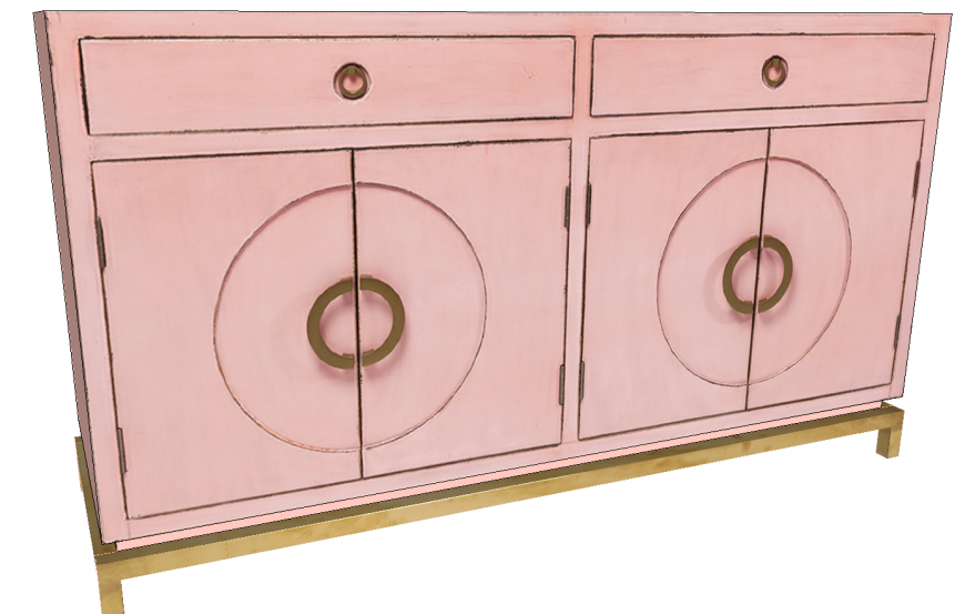 Sideboard Desk Pink detail 3d drawing.