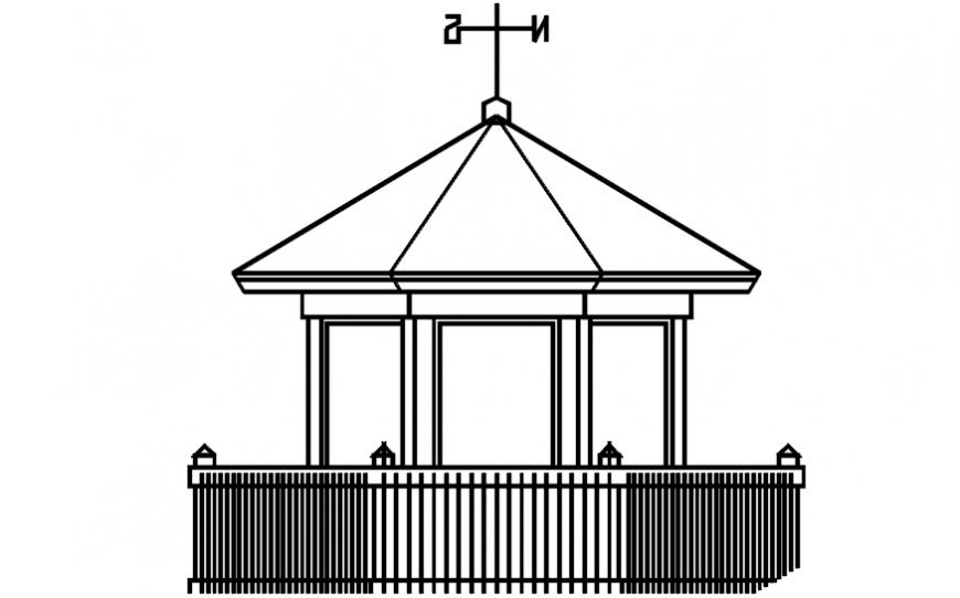 Simple bird kiosk for garden front elevation cad drawing details dwg file
