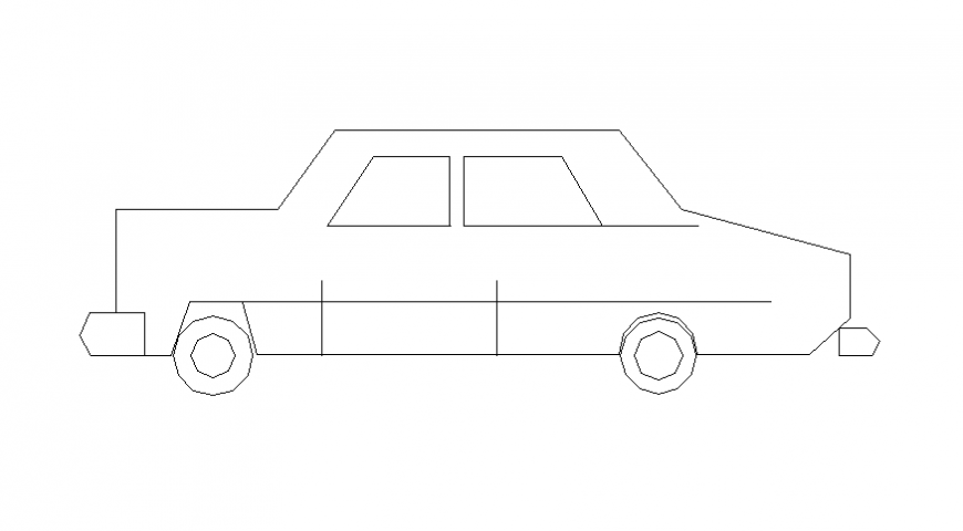 Simple car design block with an elevation view a dwg