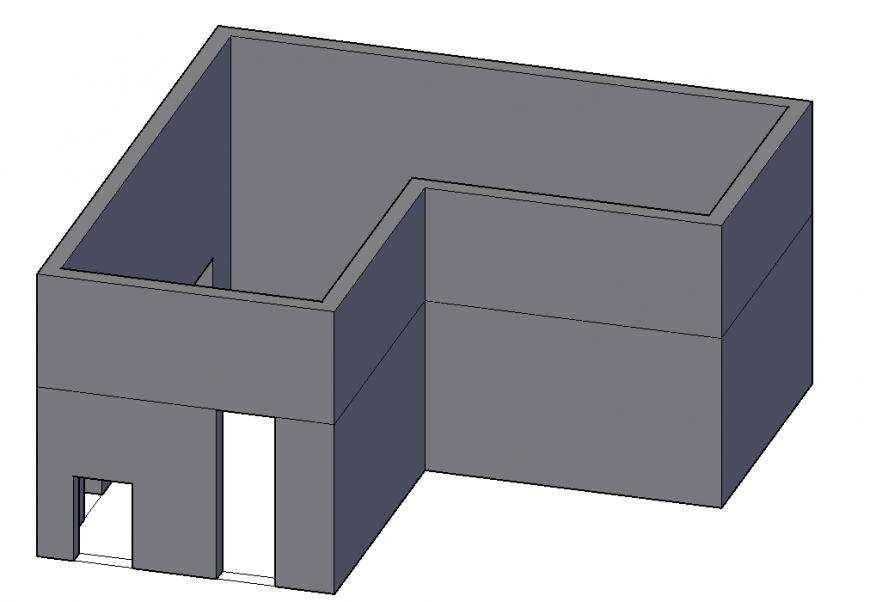 Simple House 3D Block Design in autocad File
