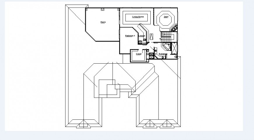 Simple house floor layout plan cad drawing details dwg file
