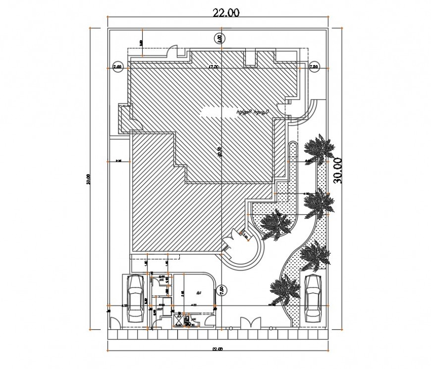 Simple house general distribution cad drawing details dwg file
