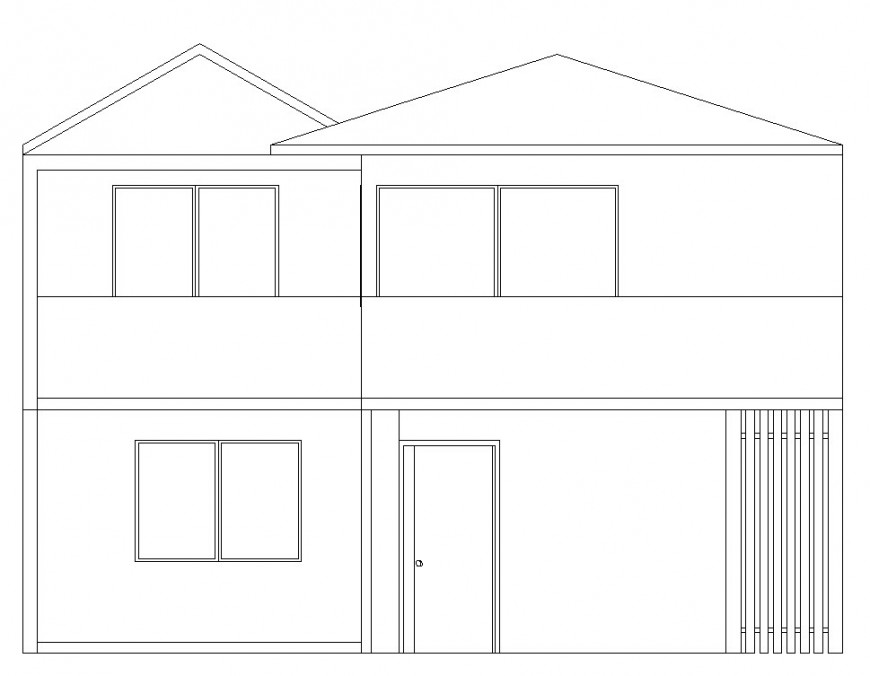 Simple house main elevation cad drawing details dwg file