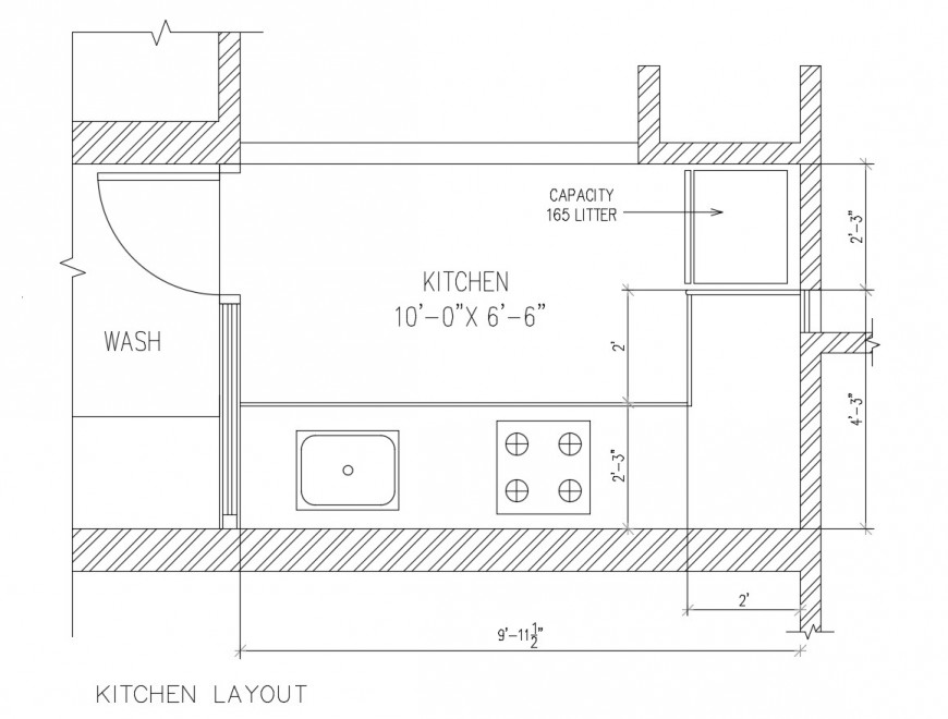 Simple kitchen architecture layout plan cad drawing details dwg file