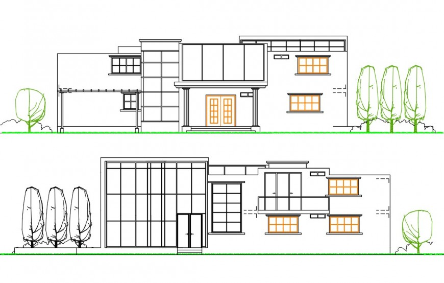 Simple one family house front and back elevation drawing details dwg file