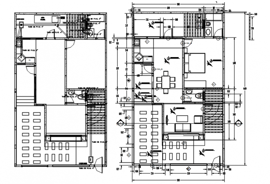 Simple residential house two floor distribution plan drawing details dwg file